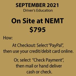 NEMT Northeast Metropolitan Regional Vocational High School Driver's Education on site at the voc.